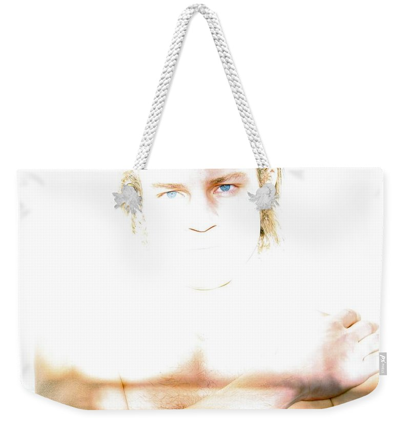 Models Weekender Tote Bag featuring the photograph The Eyes Of Light by Raul Medina