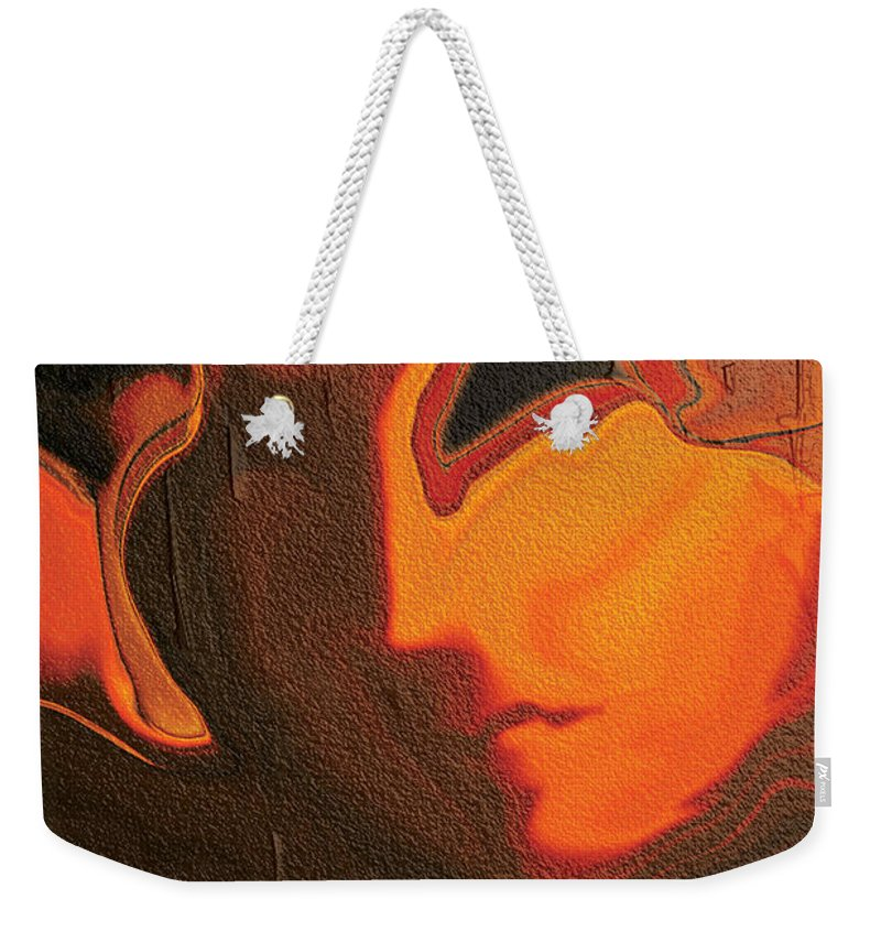 Abstract Weekender Tote Bag featuring the digital art The Face 2 by Rabi Khan