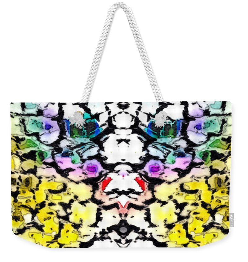 Abstract Weekender Tote Bag featuring the photograph The Face Emerging by Tom Gowanlock