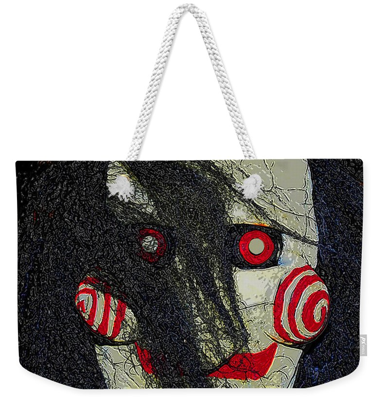 Face Weekender Tote Bag featuring the painting The Face Halloween Card by David Lee Thompson