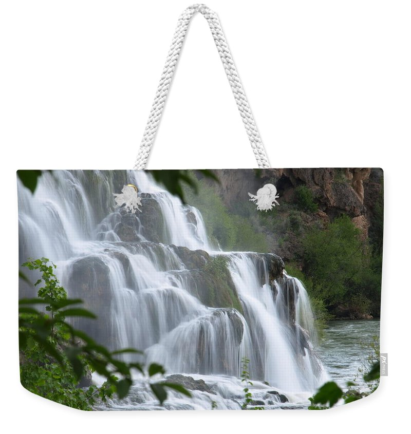 Water Weekender Tote Bag featuring the photograph The Falls Of Fall Creek by DeeLon Merritt