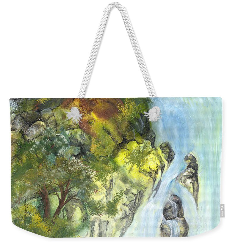 Waterfall Weekender Tote Bag featuring the painting The Falls by Sherry Shipley