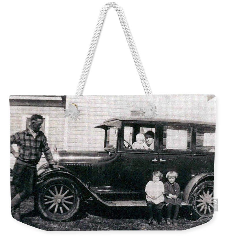Black And White Photo Old Car Classic 1927 Kids Children Homestead Family Pioneers Prairies Weekender Tote Bag featuring the photograph The Family Car by Andrea Lawrence