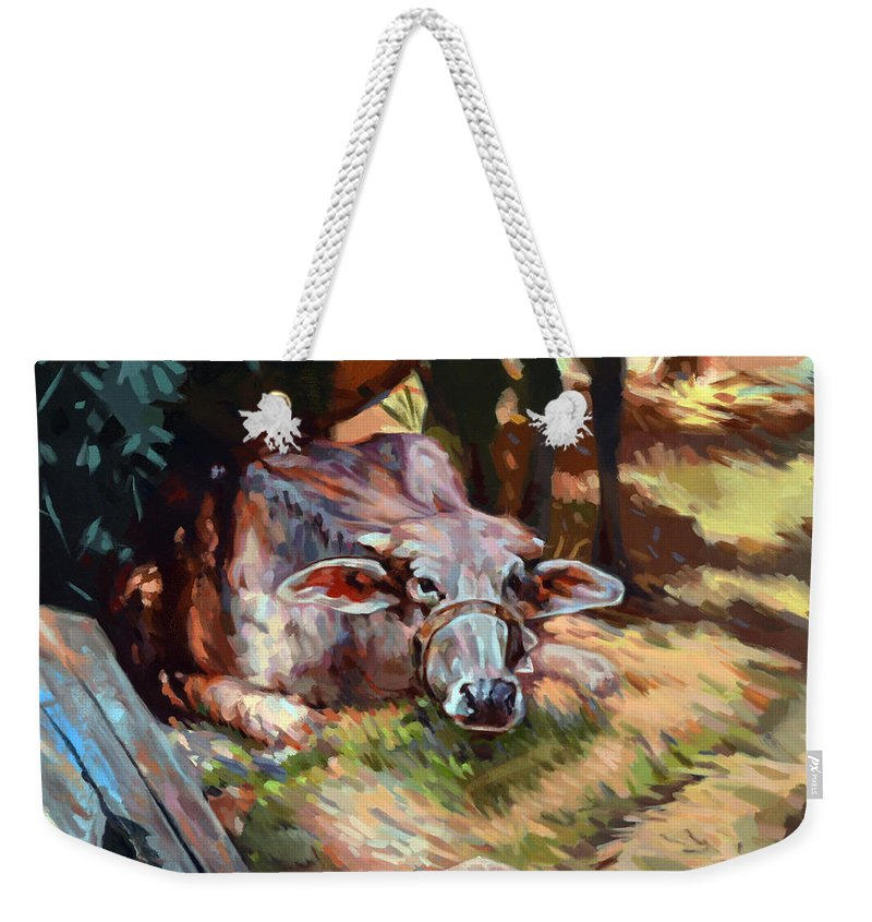 Impressionism Weekender Tote Bag featuring the painting The Farm by Ahmed Bayomi