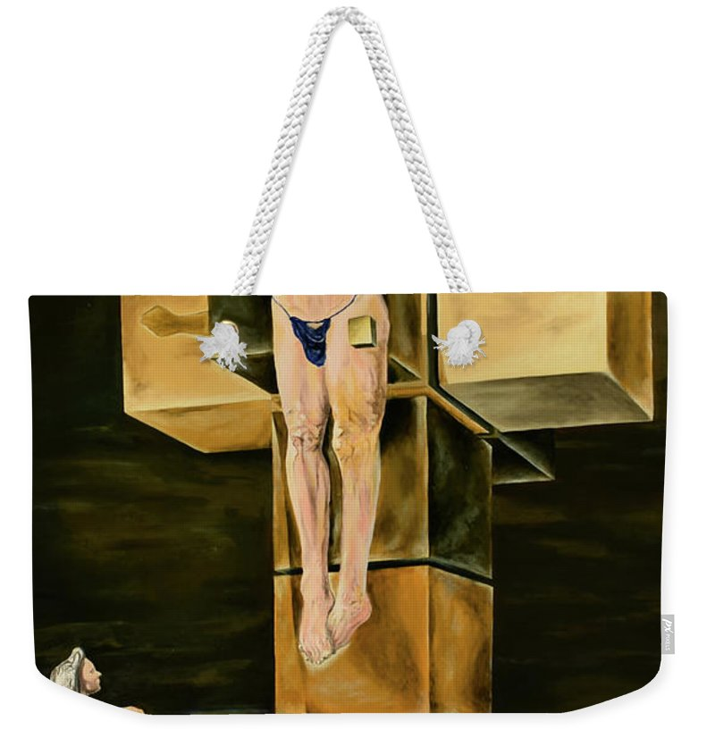 Surreal Weekender Tote Bag featuring the painting The Father Is Present -after Dali- by Ryan Demaree