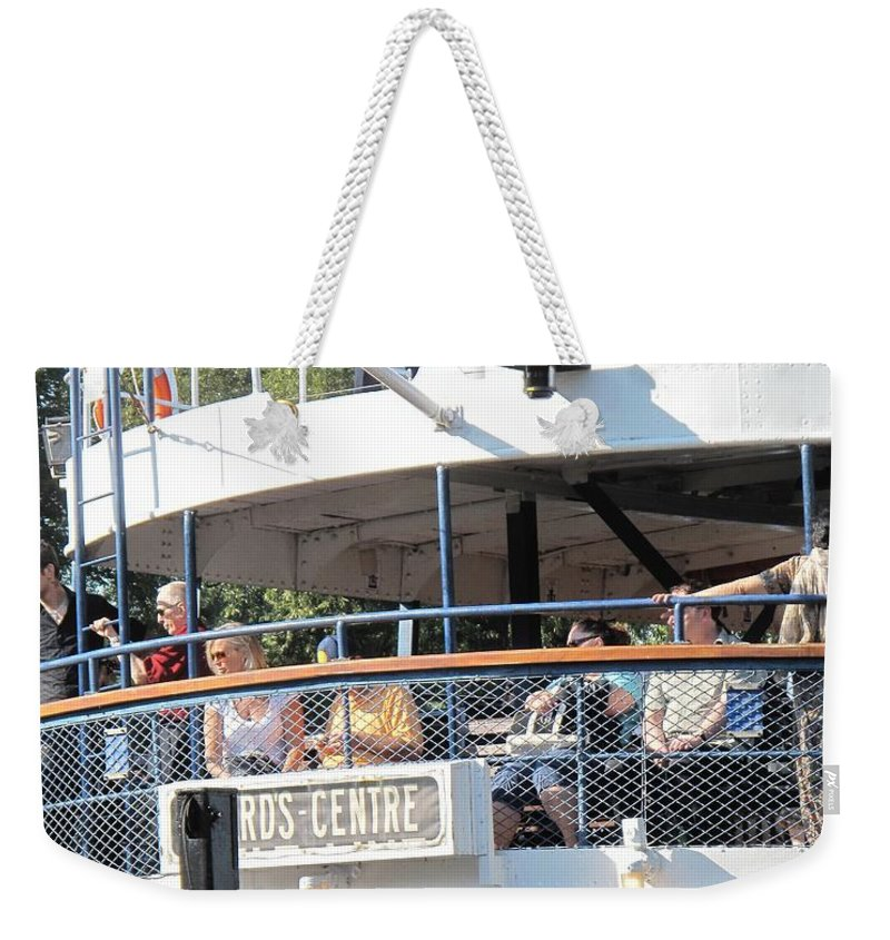 Ferry Weekender Tote Bag featuring the photograph The Ferry Arrives by Ian MacDonald