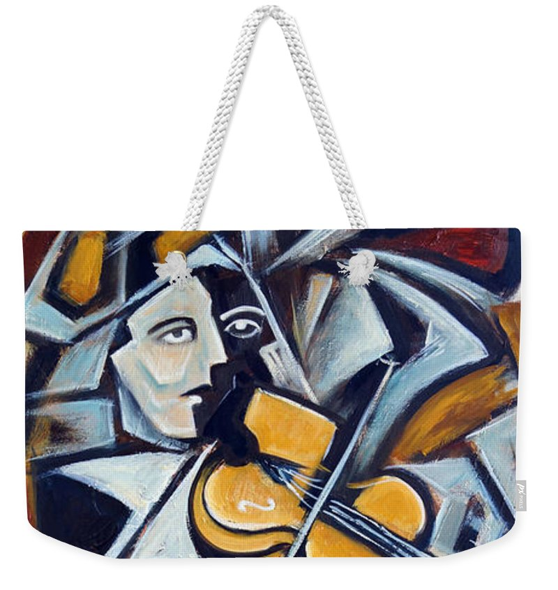 Musician Weekender Tote Bag featuring the painting The Fiddler by Valerie Vescovi