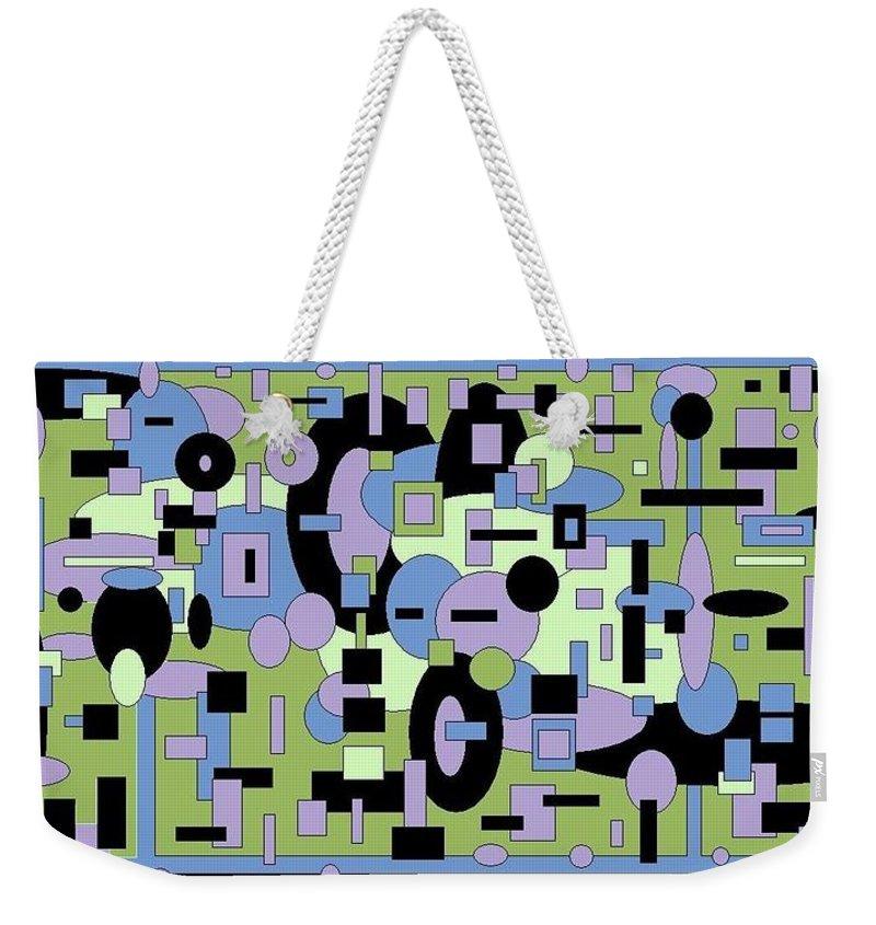 Digital Black Green Artwork Weekender Tote Bag featuring the digital art The Field by Jordana Sands