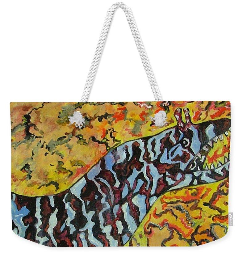 London Aquarium Weekender Tote Bag featuring the painting The Fierce Eel by Heather Lennox