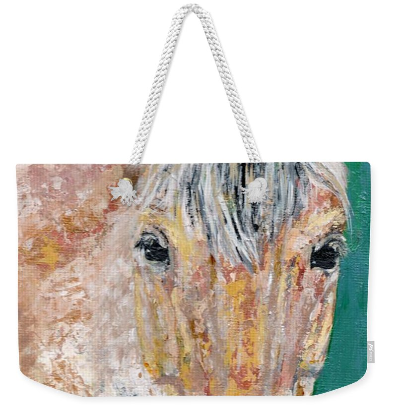 Fijord Horse Weekender Tote Bag featuring the painting The Fijord by Frances Marino