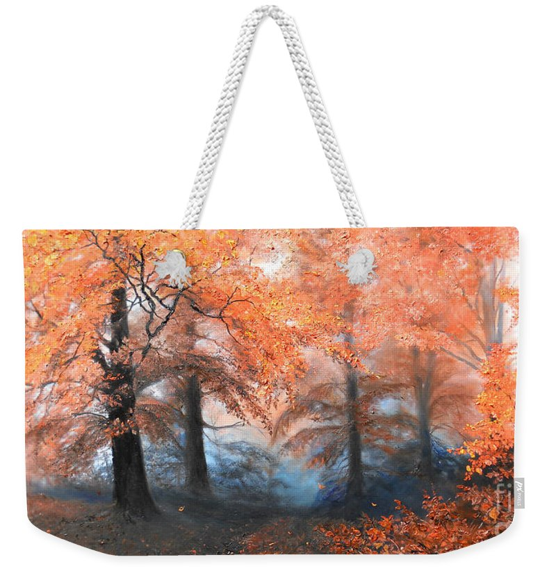 Autumn Weekender Tote Bag featuring the painting The Fire by Sorin Apostolescu