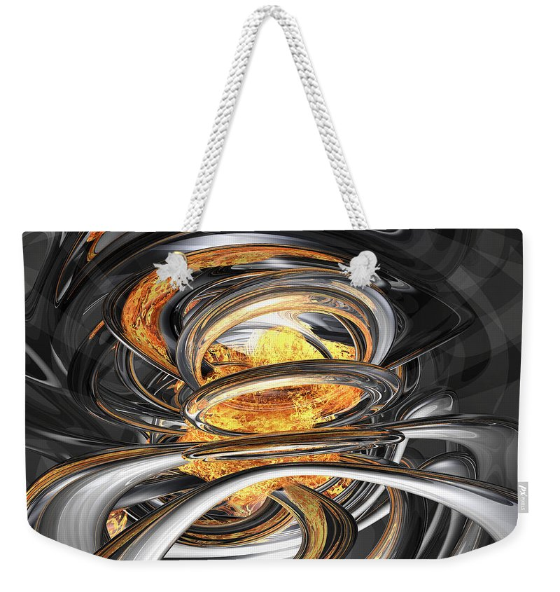 3d Weekender Tote Bag featuring the digital art The Fire Within Abstract by Alexander Butler