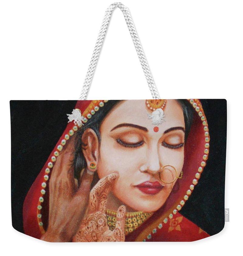 Love Painting Weekender Tote Bag featuring the painting The First Night by Gyanaditya Mourya