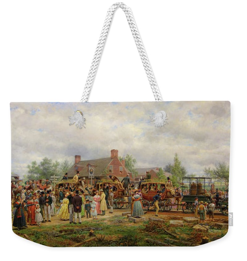 Painting Weekender Tote Bag featuring the painting The First Railroad Train On The Mohawk And Hudson River by Mountain Dreams