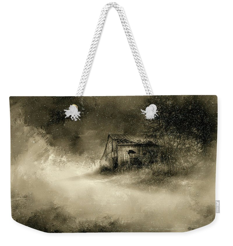 Barns Weekender Tote Bag featuring the digital art The First Snow by Marvin Spates
