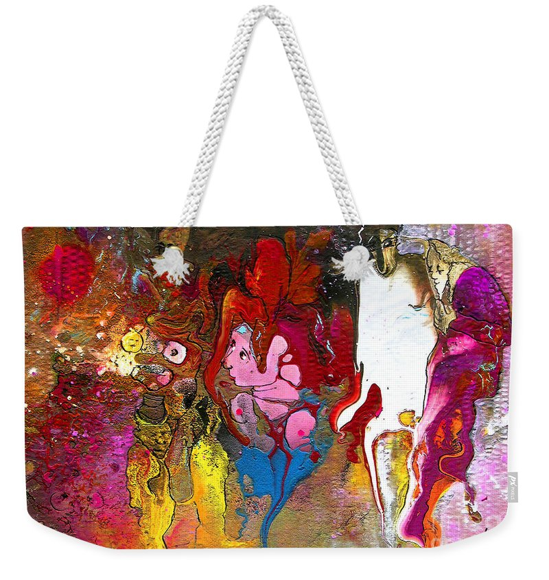 Miki Weekender Tote Bag featuring the painting The First Wedding by Miki De Goodaboom
