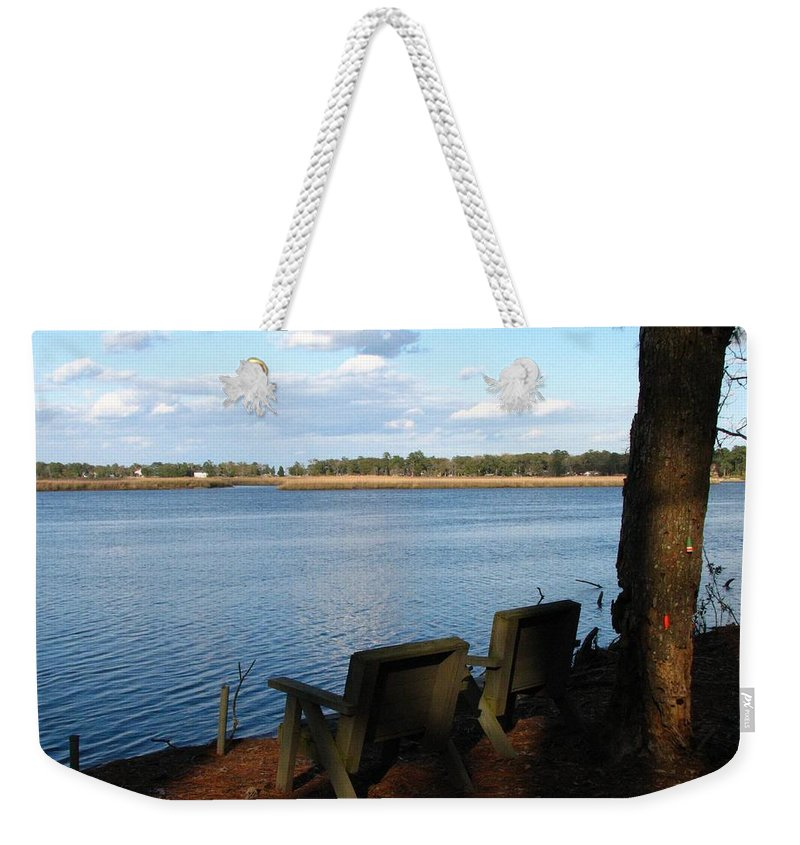 Father's Day Card Weekender Tote Bag featuring the photograph The Fishing Spot by J M Farris Photography