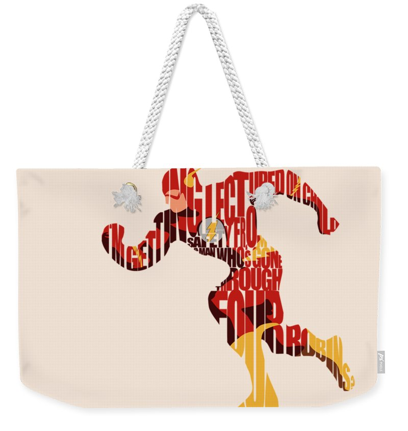 Flash Weekender Tote Bag featuring the digital art The Flash by Inspirowl Design