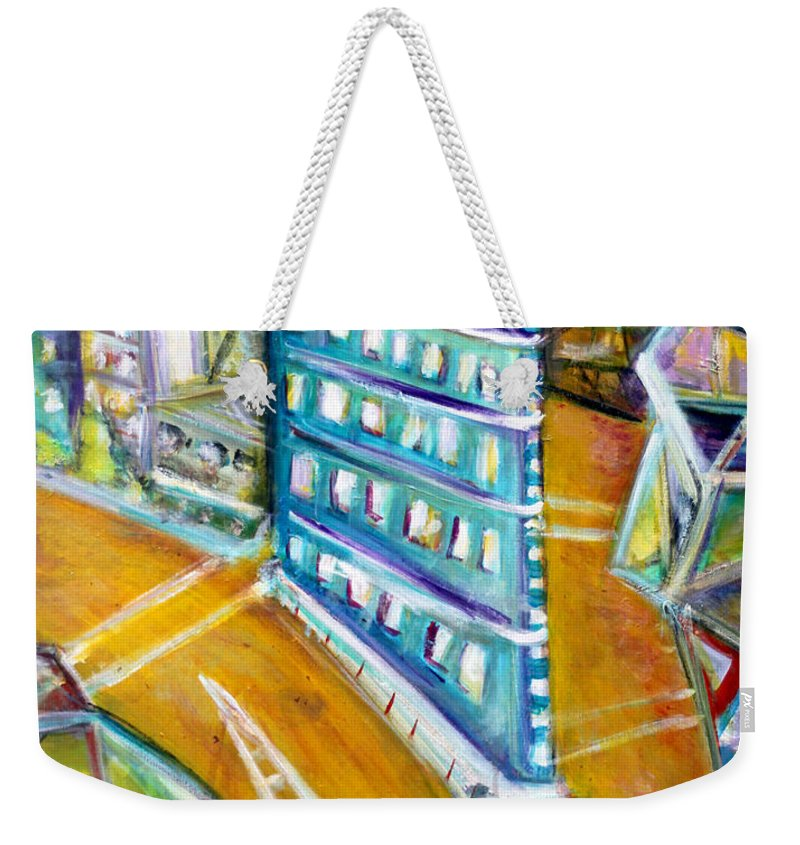 Flat Iron Building New York City Manhattan Chelsea Mid Town West Village Cubist Cubism Weekender Tote Bag featuring the painting The Flat Iron by Jason Gluskin