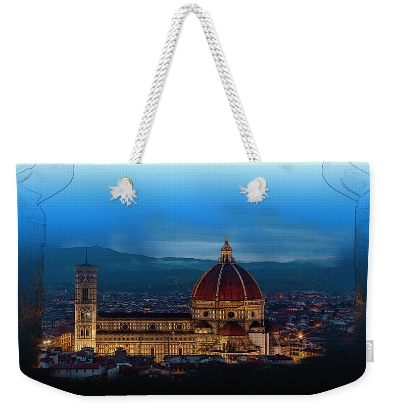 Decoration Weekender Tote Bag featuring the digital art The Florence Cathedral by Don Kuing