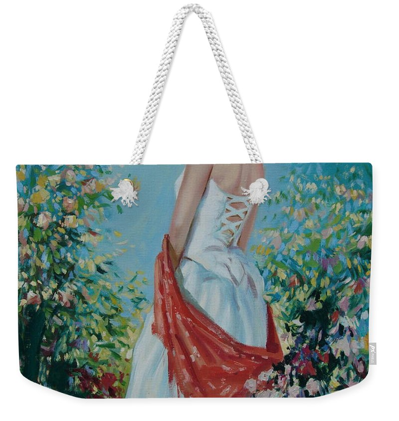 Oil Weekender Tote Bag featuring the painting The Florist In A Red Kerchief by Sergey Ignatenko