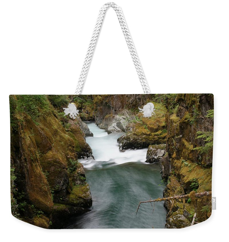 River Weekender Tote Bag featuring the photograph The Flow Of It All by Jeff Swan