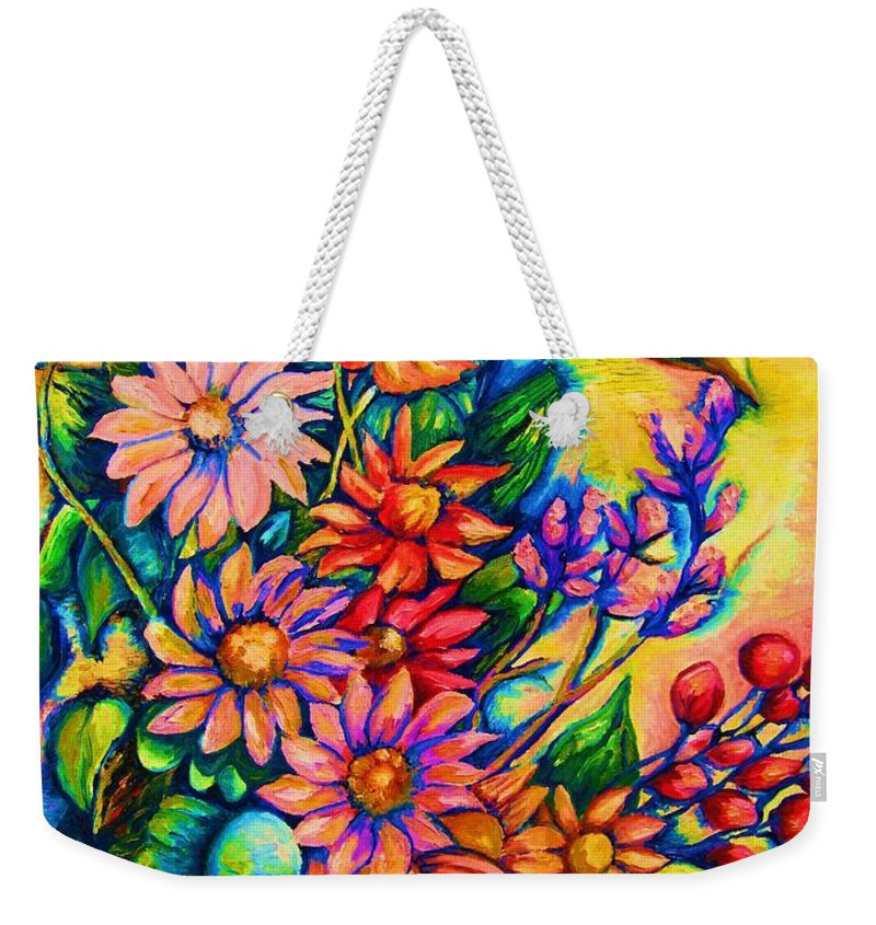 Beautiful Flowers.floral Bouquet Weekender Tote Bag featuring the painting The Flower Dance by Carole Spandau