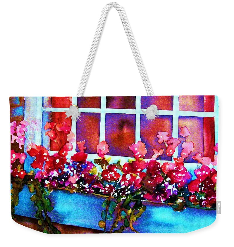 Flowerbox Weekender Tote Bag featuring the painting The Flowerbox by Carole Spandau