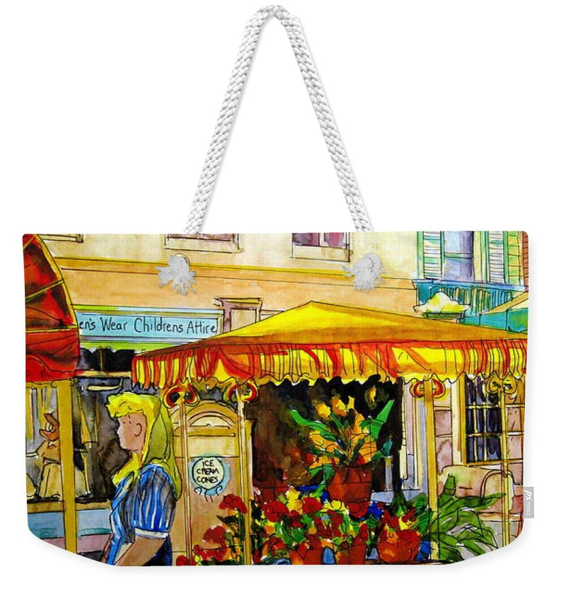 The Flowercart Weekender Tote Bag featuring the painting The Flowercart by Carole Spandau