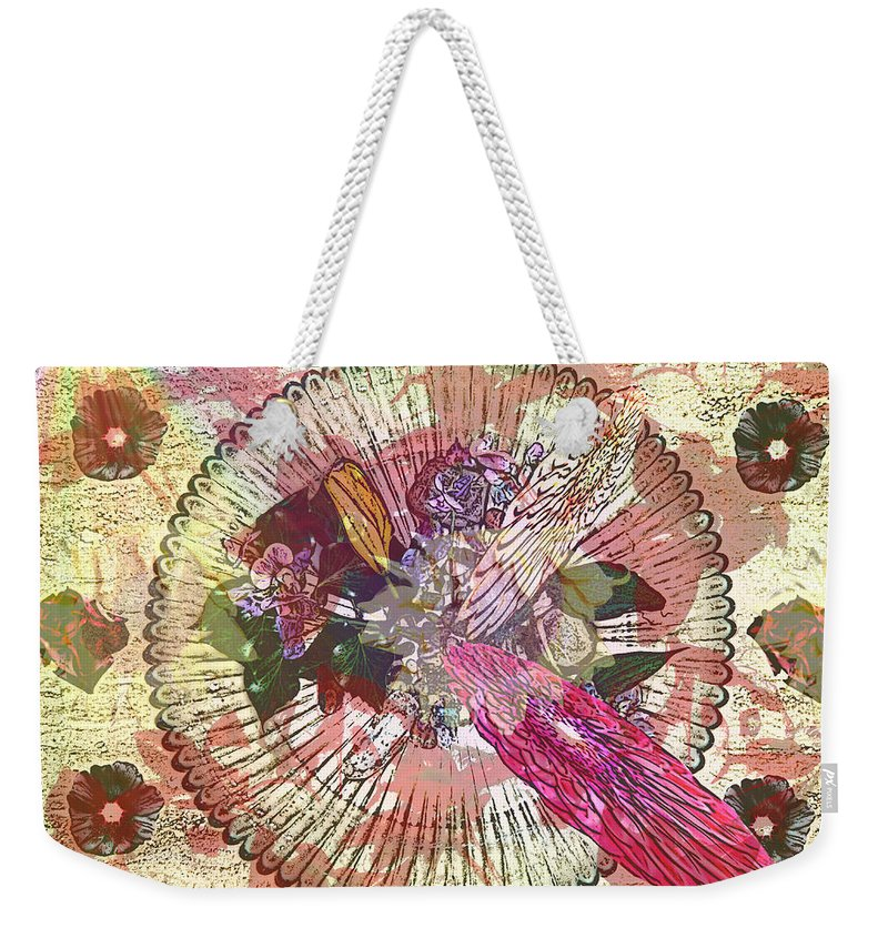 Flowers Weekender Tote Bag featuring the digital art The Flowerclock by Helmut Rottler