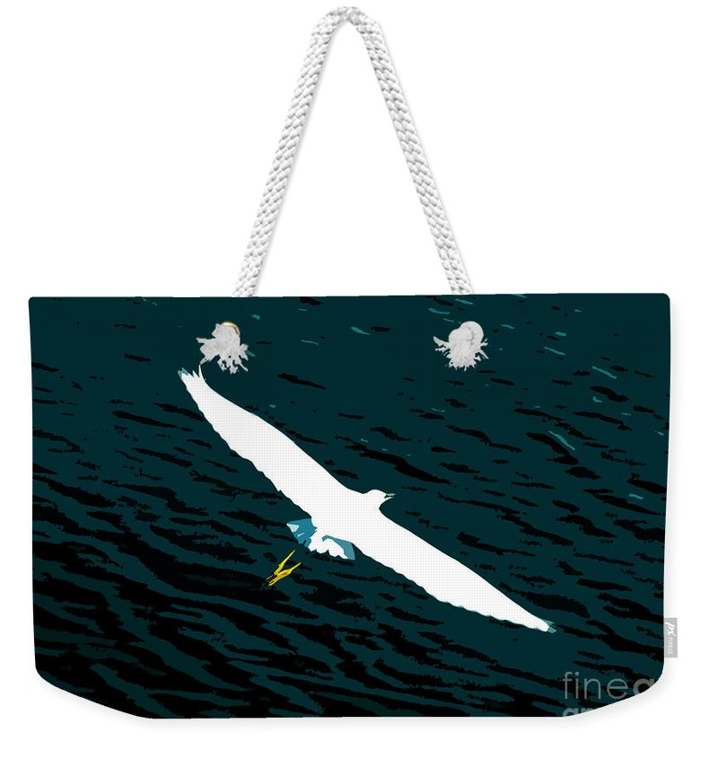 Great White Egret Weekender Tote Bag featuring the photograph The Flying Egret by David Lee Thompson