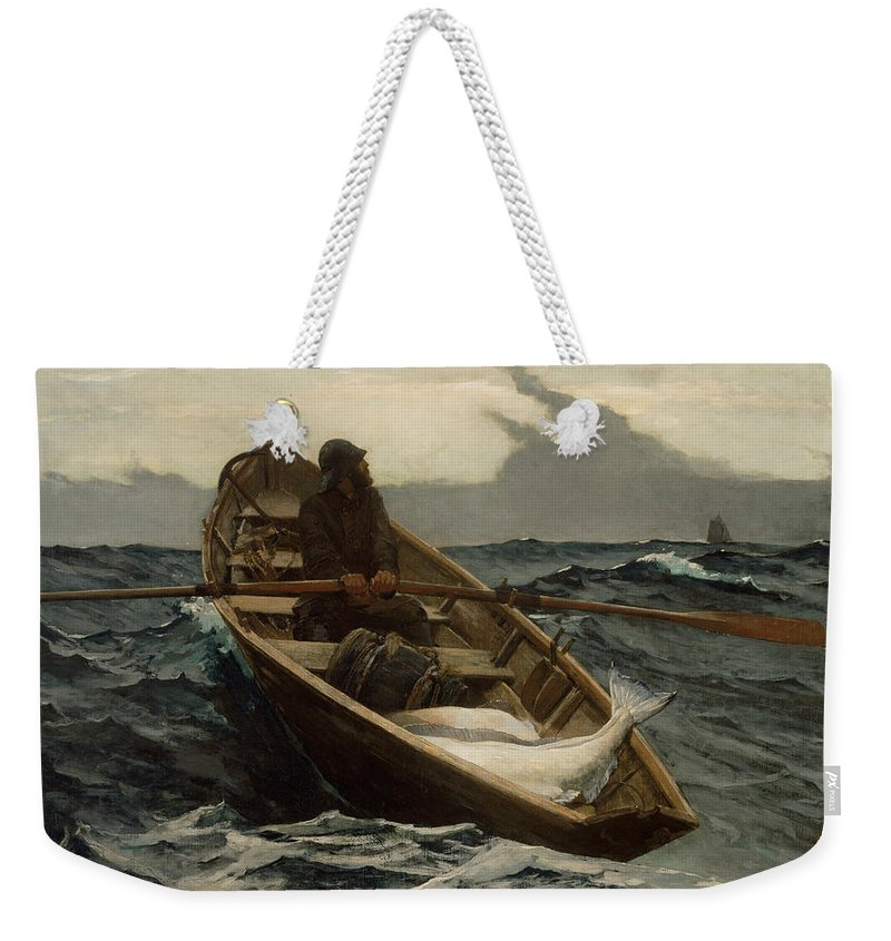 Winslow Homer Weekender Tote Bag featuring the painting The Fog Warning by Winslow Homer