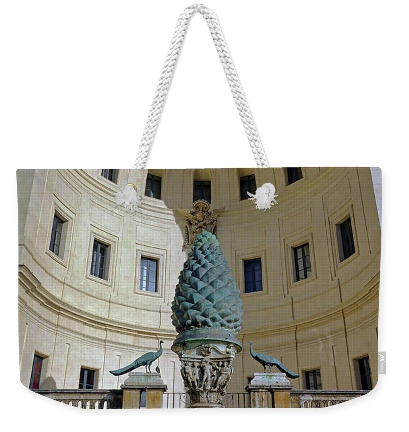 Vatican Weekender Tote Bag featuring the photograph The Fontana Della Pigna In The Vatican City by Richard Rosenshein