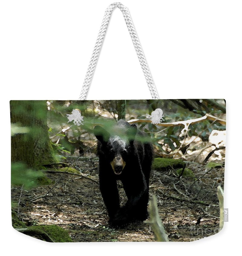 Black Bear Weekender Tote Bag featuring the painting The Forest Bear by David Lee Thompson