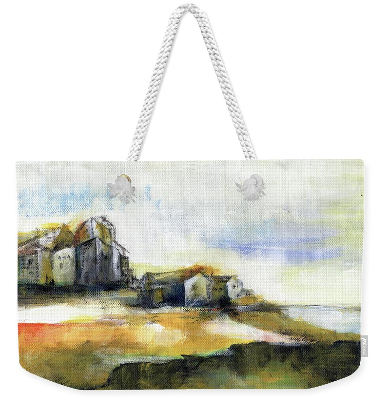 Abstract Landscape Weekender Tote Bag featuring the painting The Fortress by Aniko Hencz