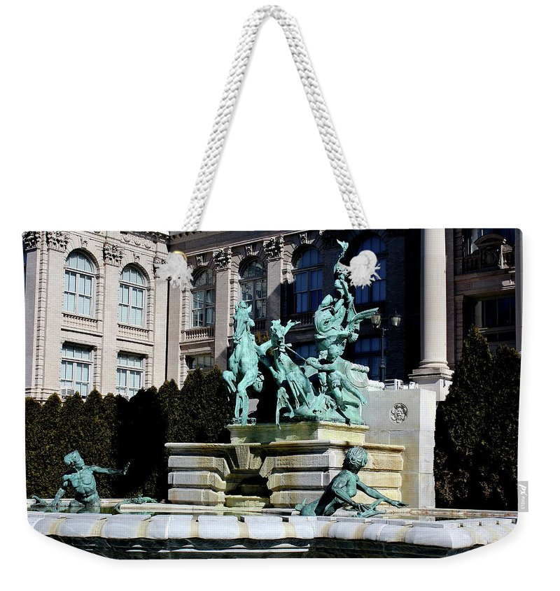 Fountain Weekender Tote Bag featuring the photograph The Fountain Of Life by Nadia Asfar