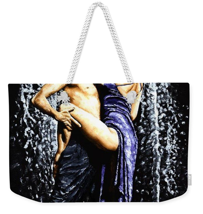 Tango Weekender Tote Bag featuring the painting The Fountain Of Tango by Richard Young