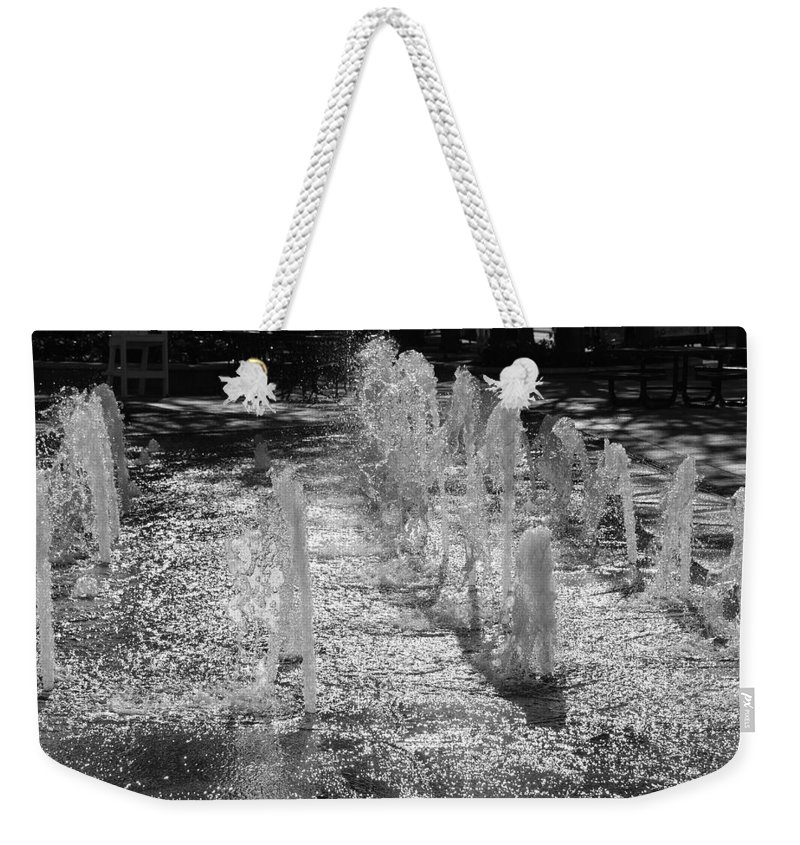 Black And White Weekender Tote Bag featuring the photograph The Fountians Of Climatis by Rob Hans