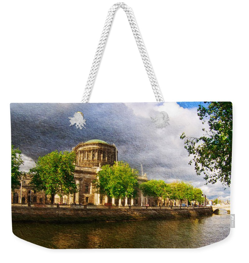 The Four Courts In Reconstruction Weekender Tote Bag featuring the photograph The Four Courts In Reconstruction 2 by Alex Art and Photo