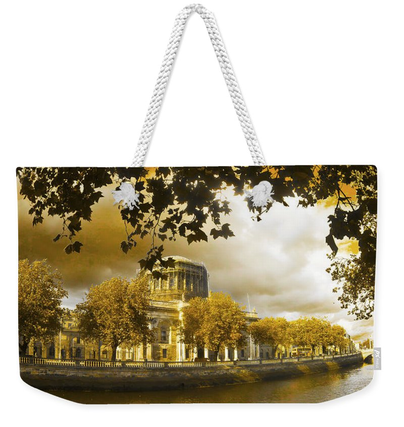 The Four Courts In Reconstruction Weekender Tote Bag featuring the photograph The Four Courts In Reconstruction Sepia by Alex Art and Photo
