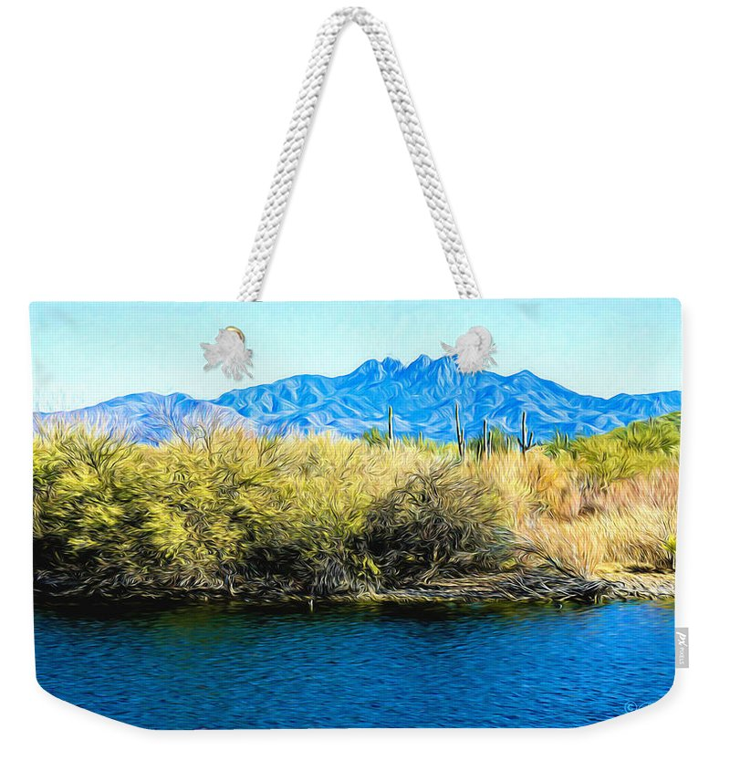 Landscape Weekender Tote Bag featuring the photograph The Four Peaks From Saguaro Lake by Barbara Zahno