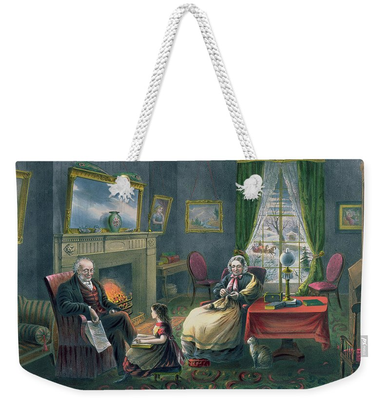 The Four Seasons Of Life: Old Age Weekender Tote Bag featuring the painting The Four Seasons Of Life Old Age by Currier and Ives