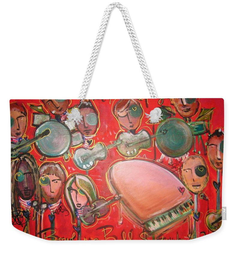 The Fray Weekender Tote Bag featuring the painting The Fray And The Flobots by Laurie Maves ART