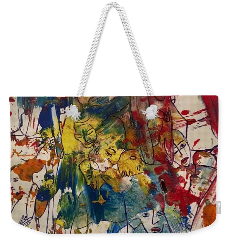 Abstract Weekender Tote Bag featuring the painting The Freak Show by Dr Ernest Williamson III