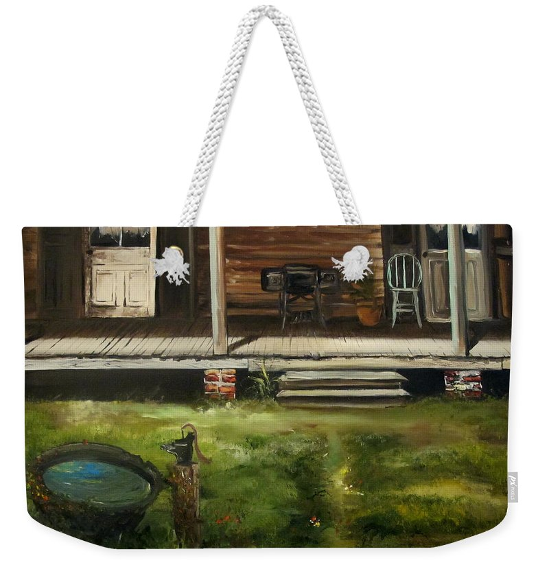 Front Weekender Tote Bag featuring the painting The Front Porch by John Duplantis