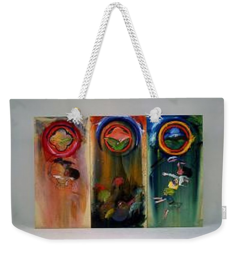 Fall From Grace Weekender Tote Bag featuring the painting The Fruit Machine Stops by Charles Stuart