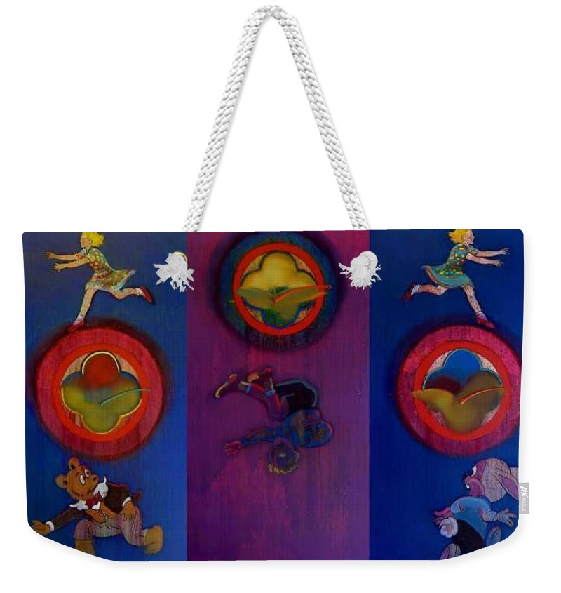 The Drums Of The Fruit Machine Stop At Random. Triptych Weekender Tote Bag featuring the painting The Fruit Machine Stops II by Charles Stuart