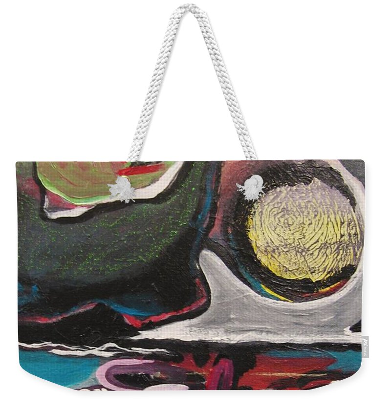 Abstract Paintings Weekender Tote Bag featuring the painting The Full Moon2 by Seon-Jeong Kim