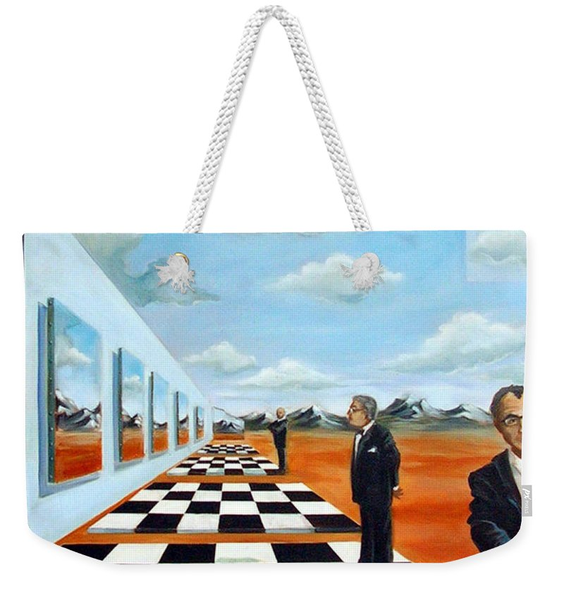 Surreal Weekender Tote Bag featuring the painting The Gallery by Valerie Vescovi