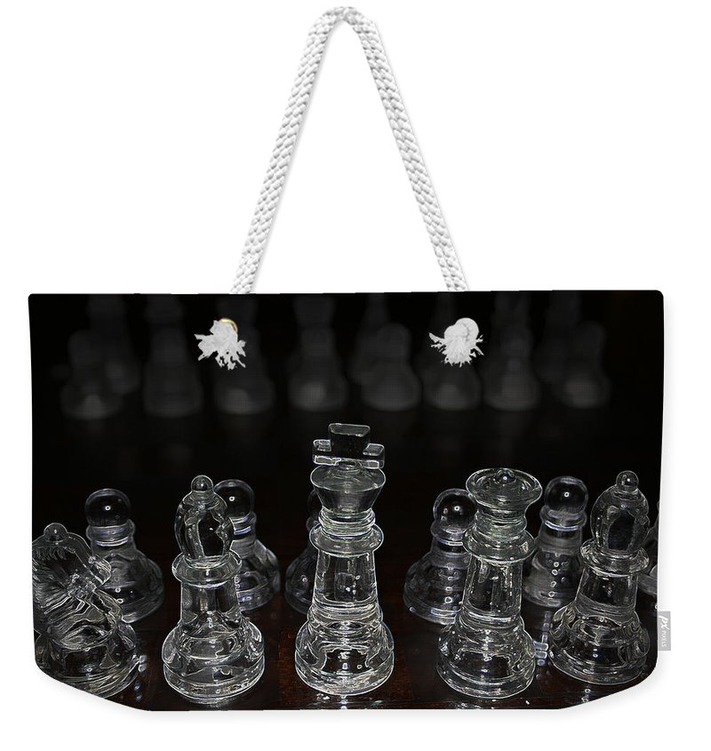Game Chess King Queen Knight Board Match Players Pawn Bishop Weekender Tote Bag featuring the photograph The Game by Andrea Lawrence